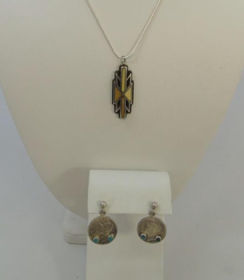 Native American Turquoise Pendant & Dime Earrings