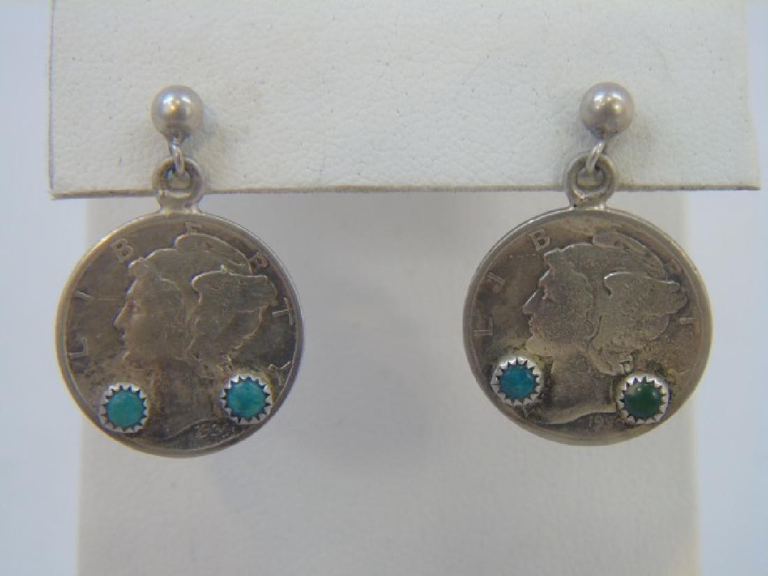 Native American Turquoise Pendant & Dime Earrings - 5