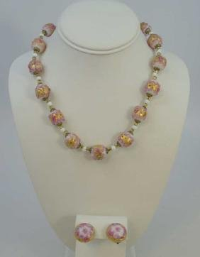 Vintage Murano Italy Art Glass Necklace & Earrings