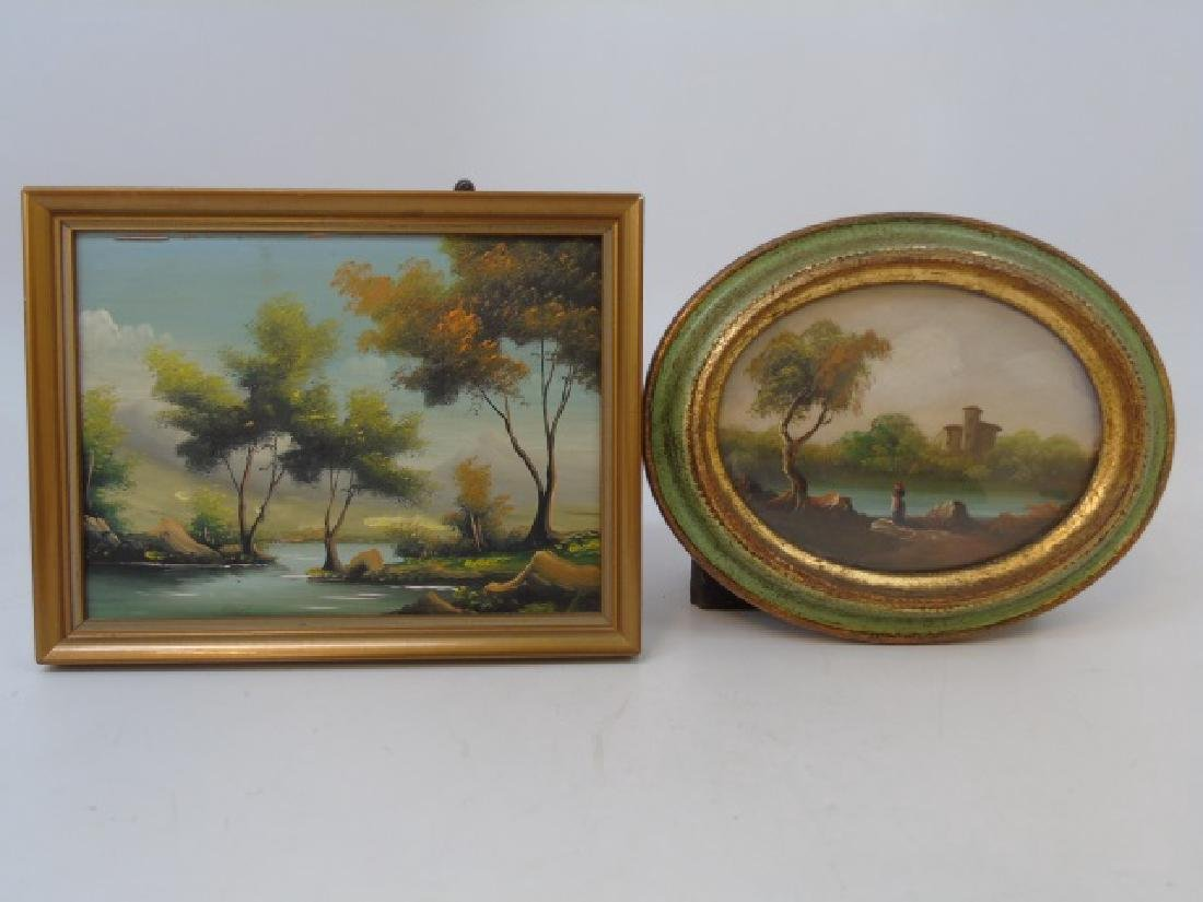 Two Italian Portrait Miniature Landscape Paintings