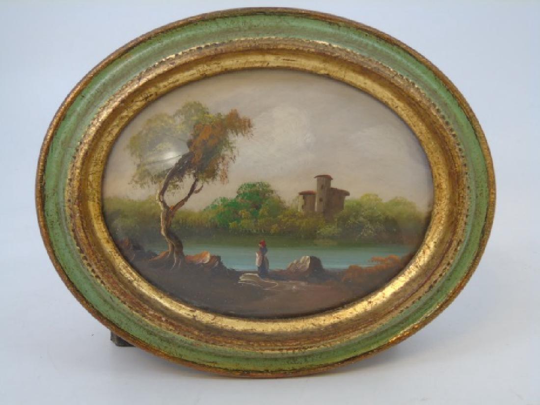 Two Italian Portrait Miniature Landscape Paintings - 3