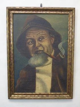 Signed Oil Painting Portrait of a Sailor in Frame