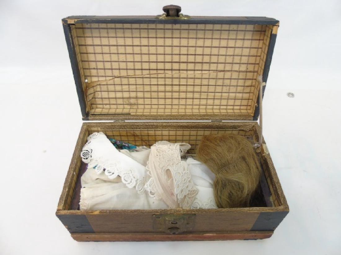 Antique 19th C Doll Trunk w Clothing & Accessories