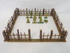 Antique Dollhouse / Train Fence & Pressed Trees