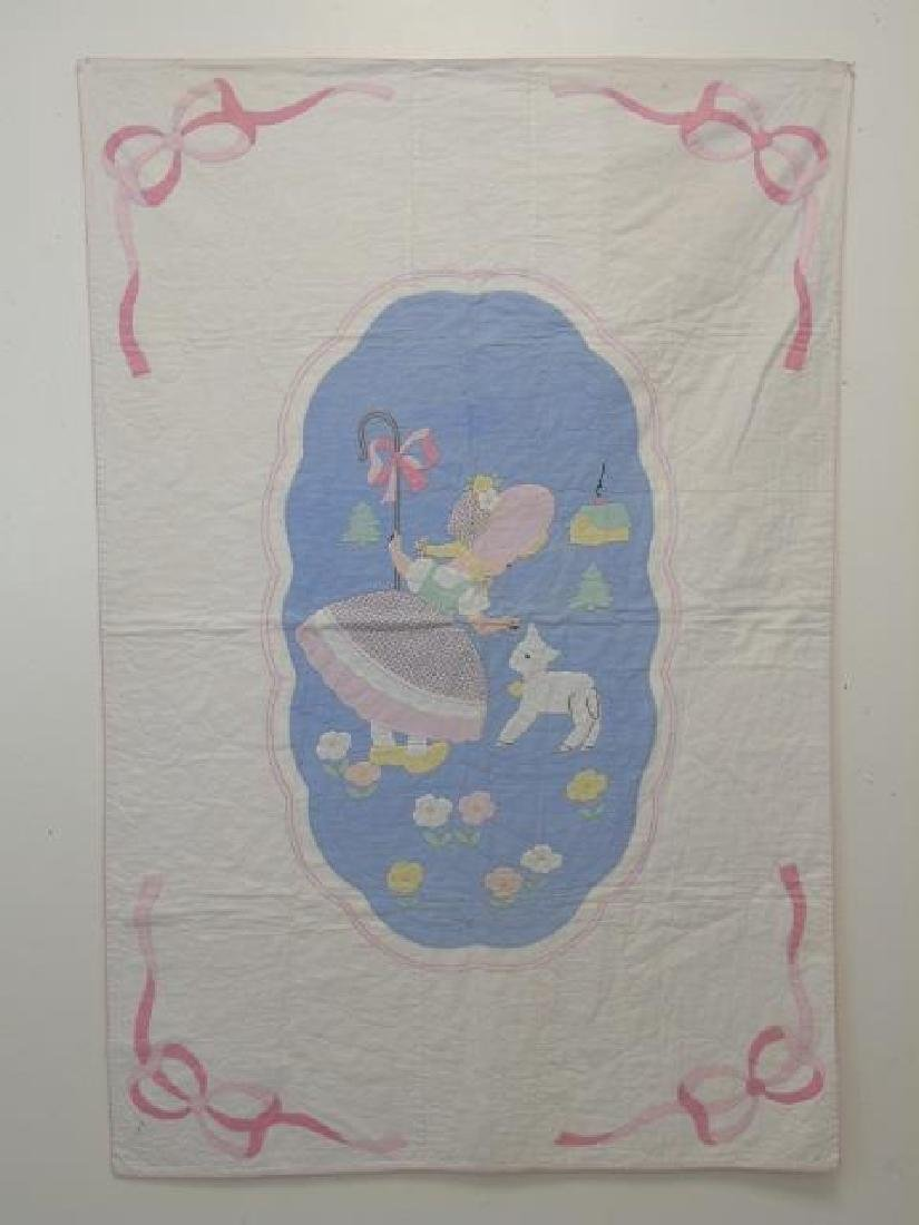 Vintage Hand Made Hand Sewn Little Bo Peep Quilt