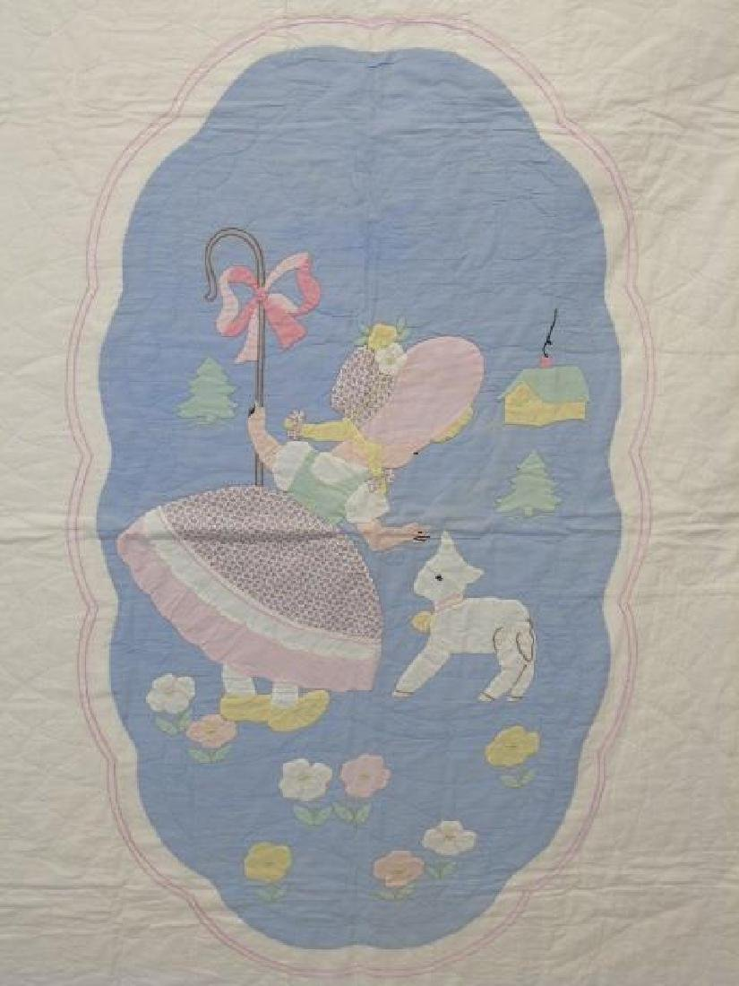 Vintage Hand Made Hand Sewn Little Bo Peep Quilt - 3