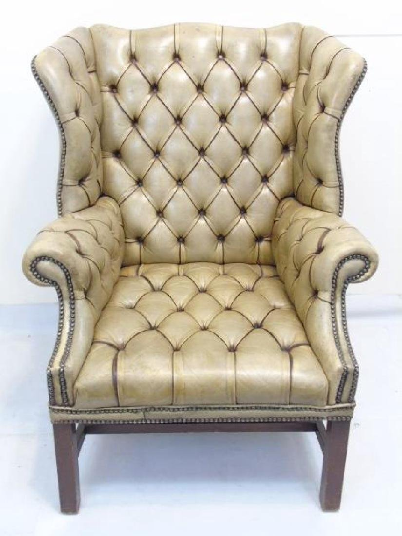 Antique English Tufted Brown Leather Wing Armchair