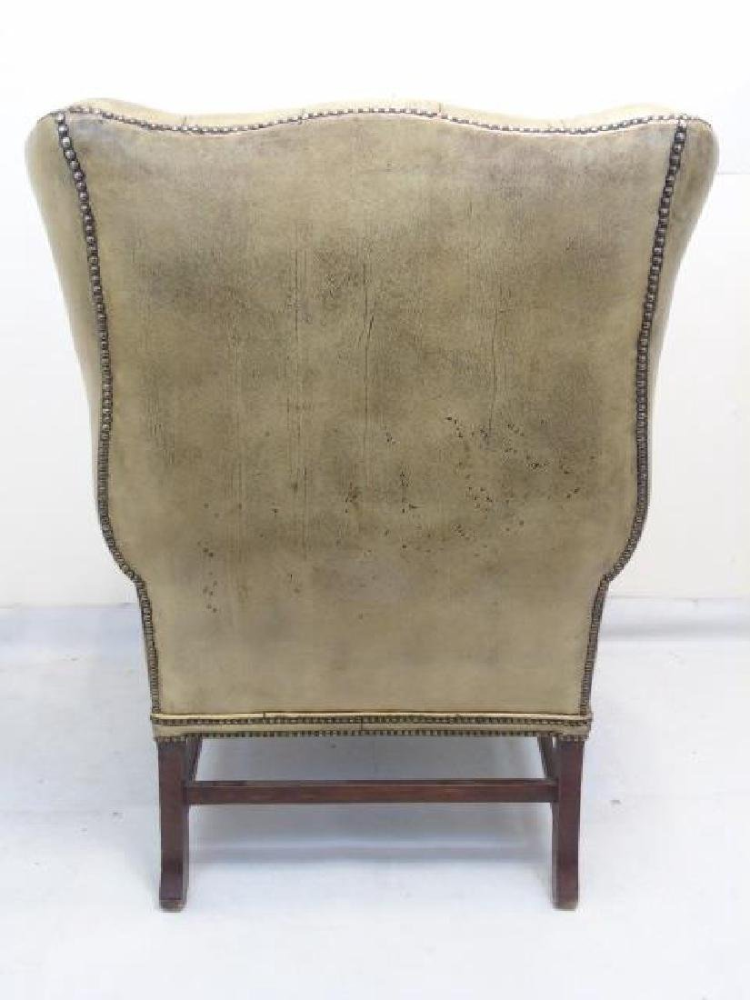 Antique English Tufted Brown Leather Wing Armchair - 2