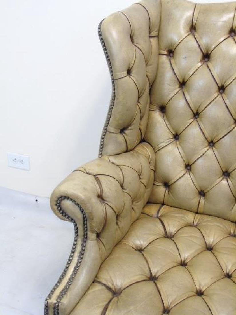 Antique English Tufted Brown Leather Wing Armchair - 3