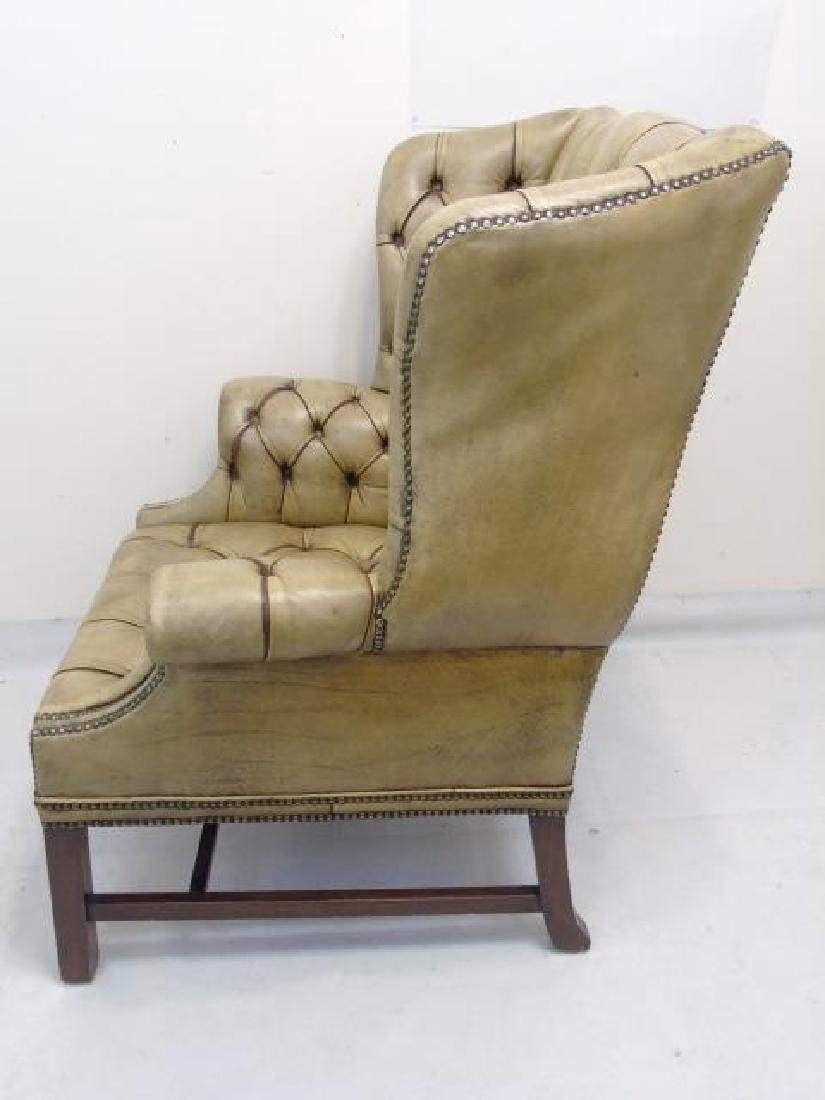 Antique English Tufted Brown Leather Wing Armchair - 4