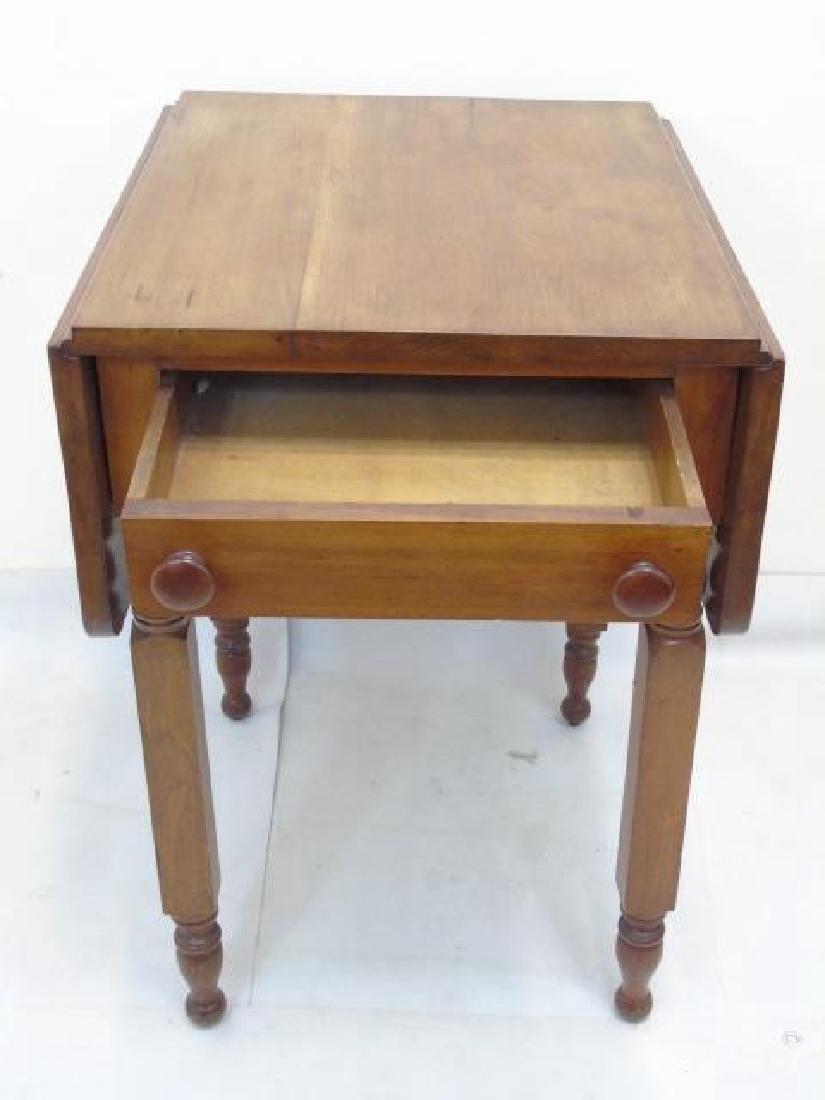 Antique Maple Drop Leaf Bedside Table - 3