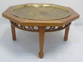 Mahogany Octagon Table with Brass Inset Tray Top