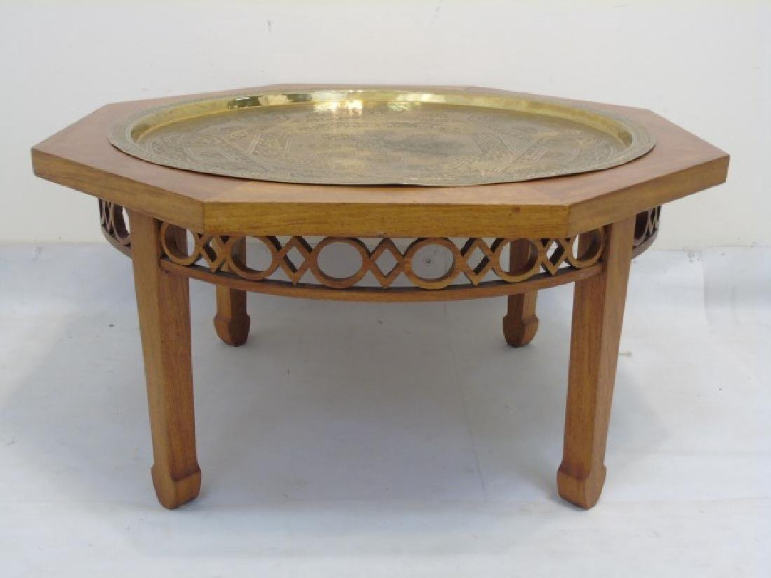 Mahogany Octagon Table with Brass Inset Tray Top - 2