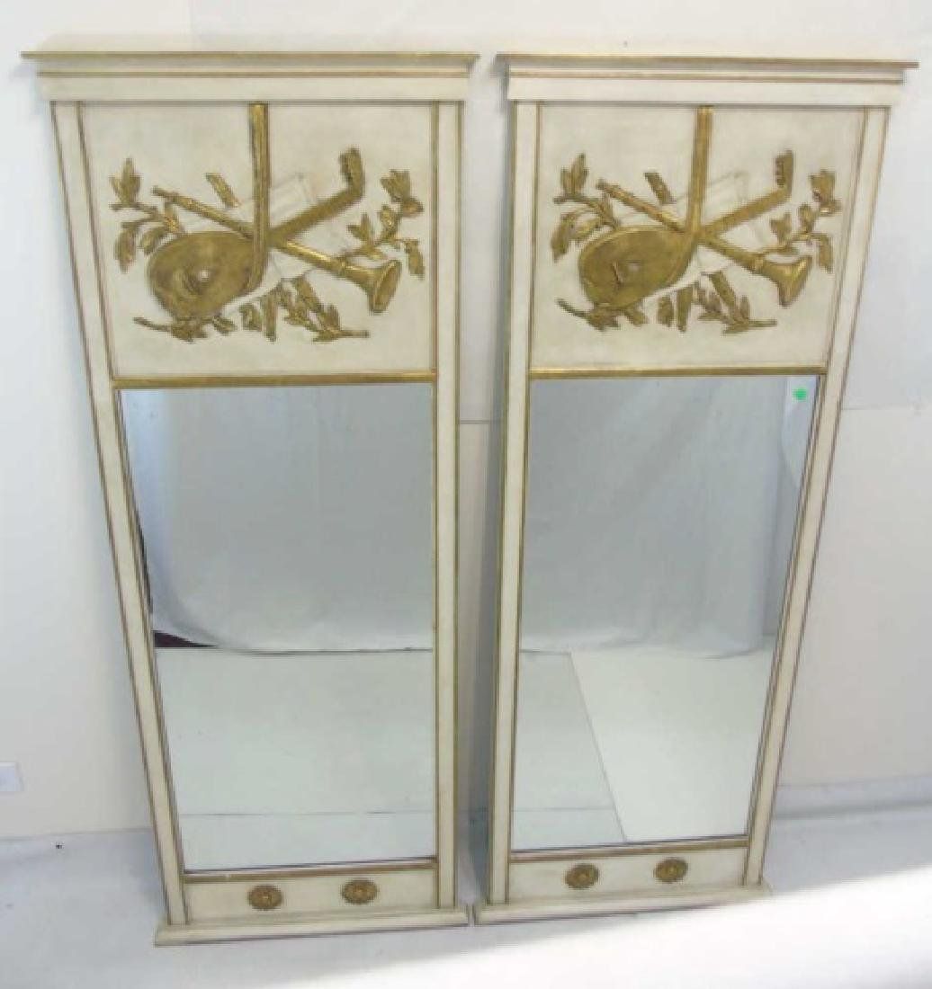 Pair Trumeau Style Pier Mirrors in White & Gold