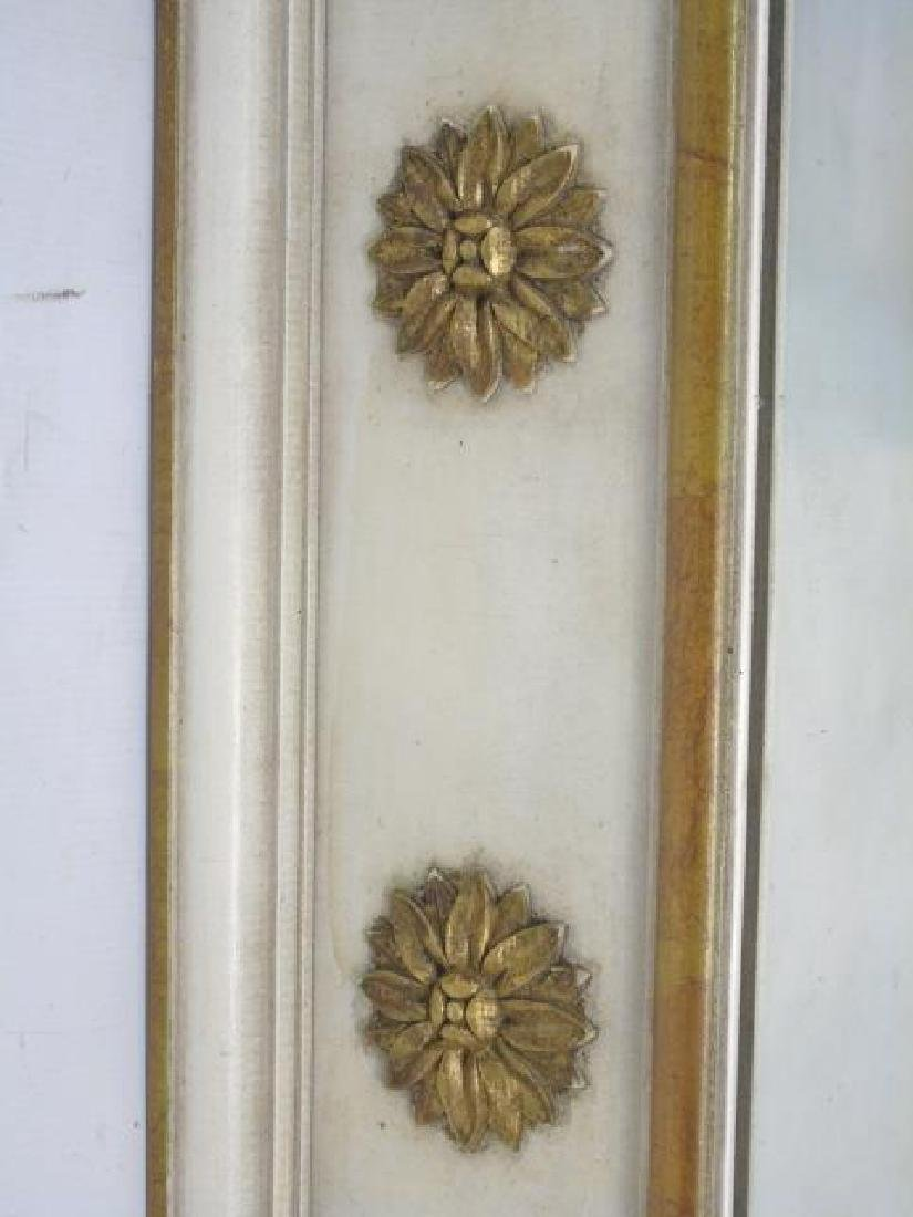 Pair Trumeau Style Pier Mirrors in White & Gold - 2