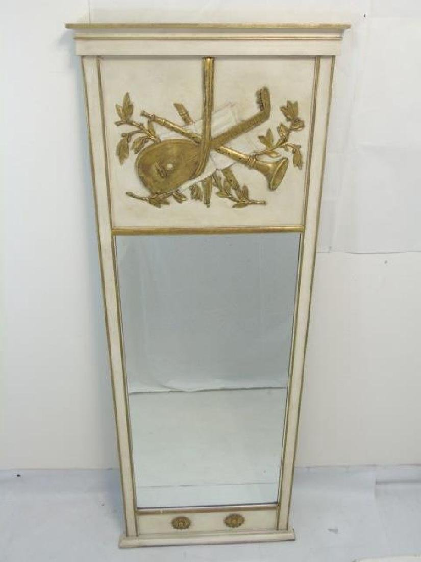 Pair Trumeau Style Pier Mirrors in White & Gold - 3