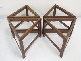 Set of 6 Triangular Wooden Table Frames MCM Style