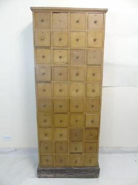 Tall Wood Apothecary Cabinet w 40 Drawers on Base