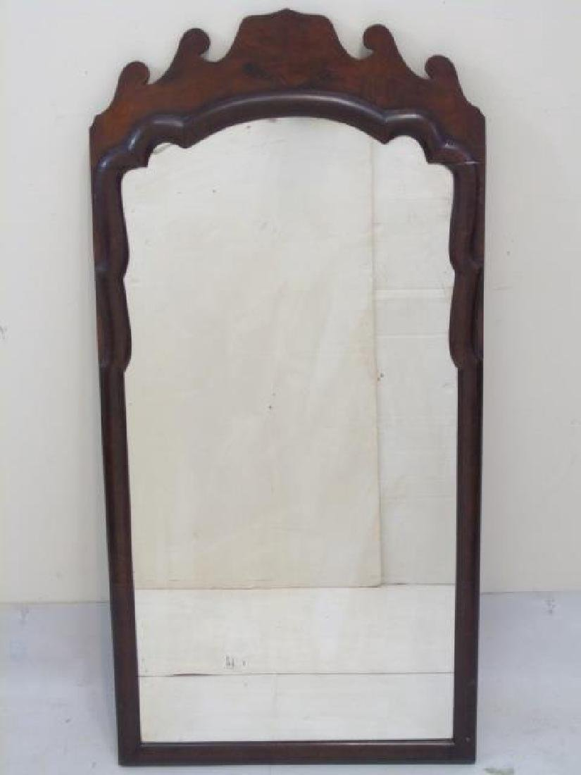 Antique Mahogany Veneer Ogee Scroll Wall Mirror