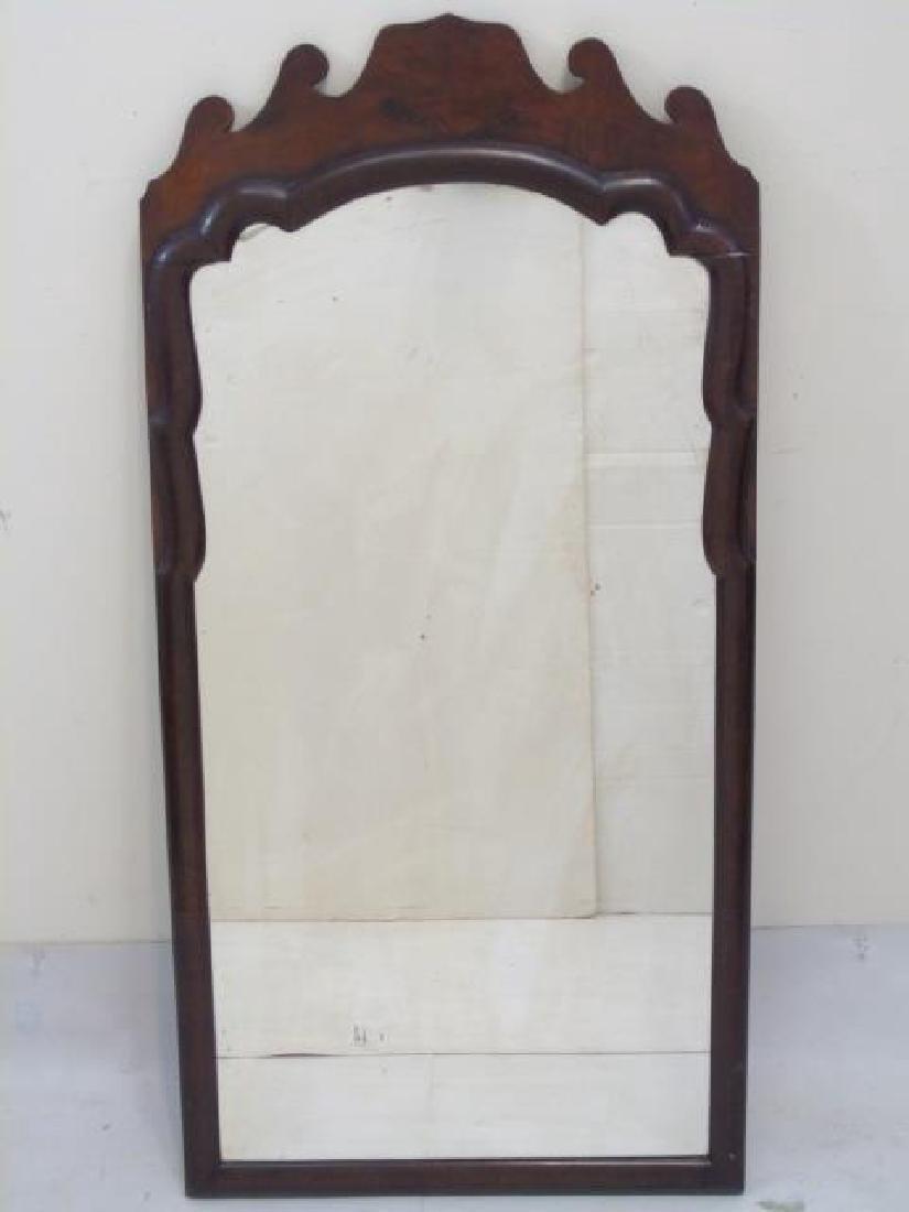 Antique Mahogany Veneer Ogee Scroll Wall Mirror