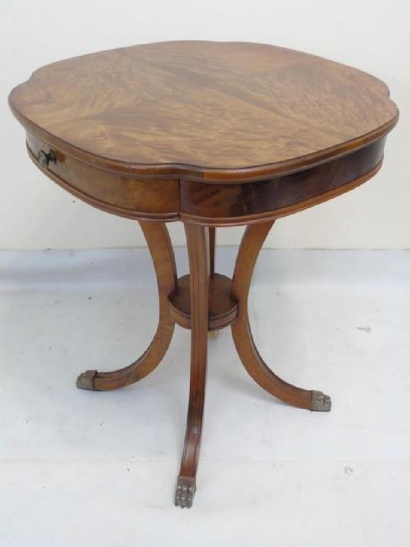 Pair Fine Burled Veneer Antique Side Tables - 2