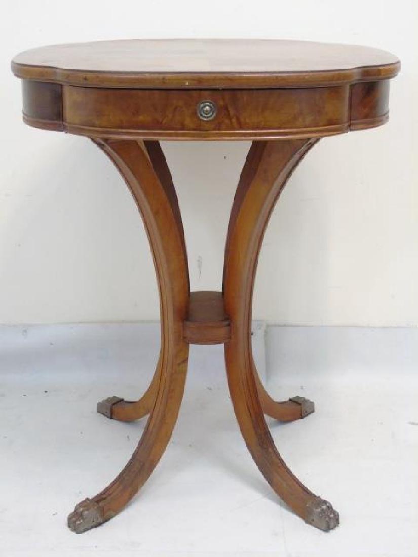 Pair Fine Burled Veneer Antique Side Tables - 3