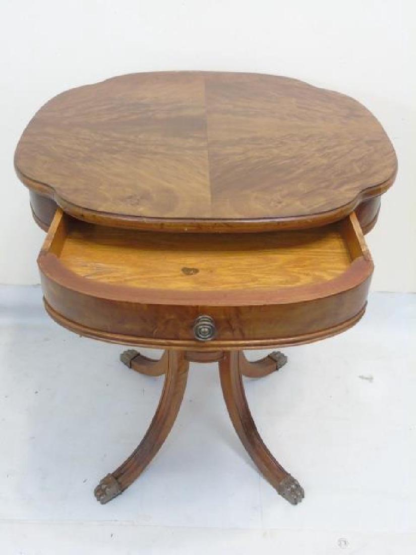 Pair Fine Burled Veneer Antique Side Tables - 4