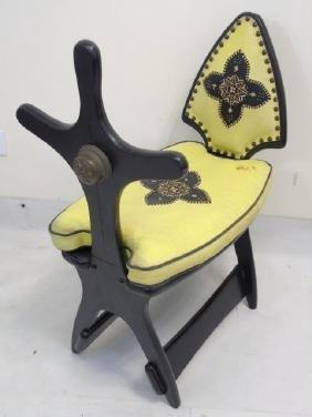 Vintage Carved Wood & Upholstered Camel Saddle