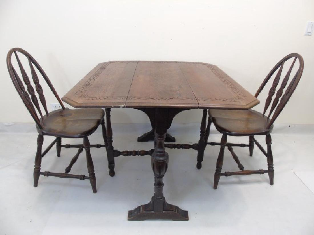 Antique Carved Oak Jacobean Style Dining Set