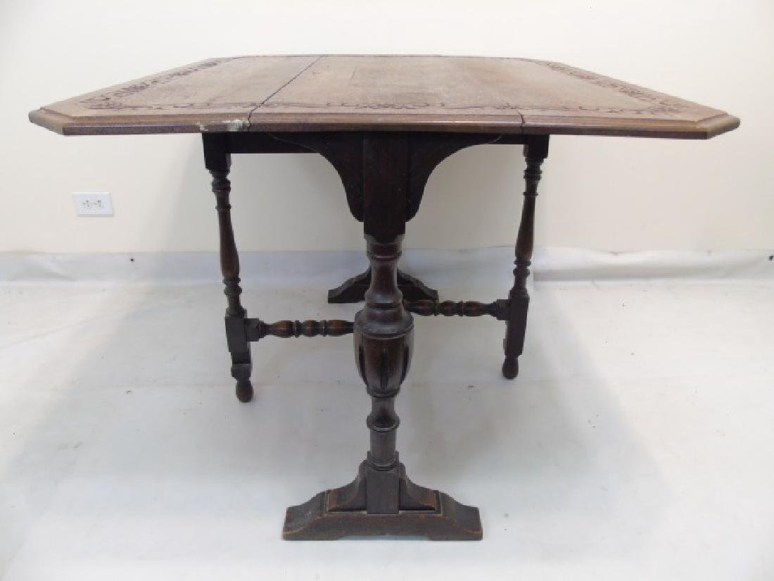 Antique Carved Oak Jacobean Style Dining Set - 3