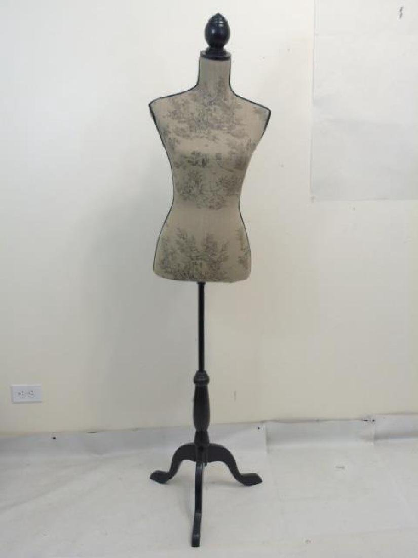 Toile-Fabric Mannequin on a Black Wood Pedestal