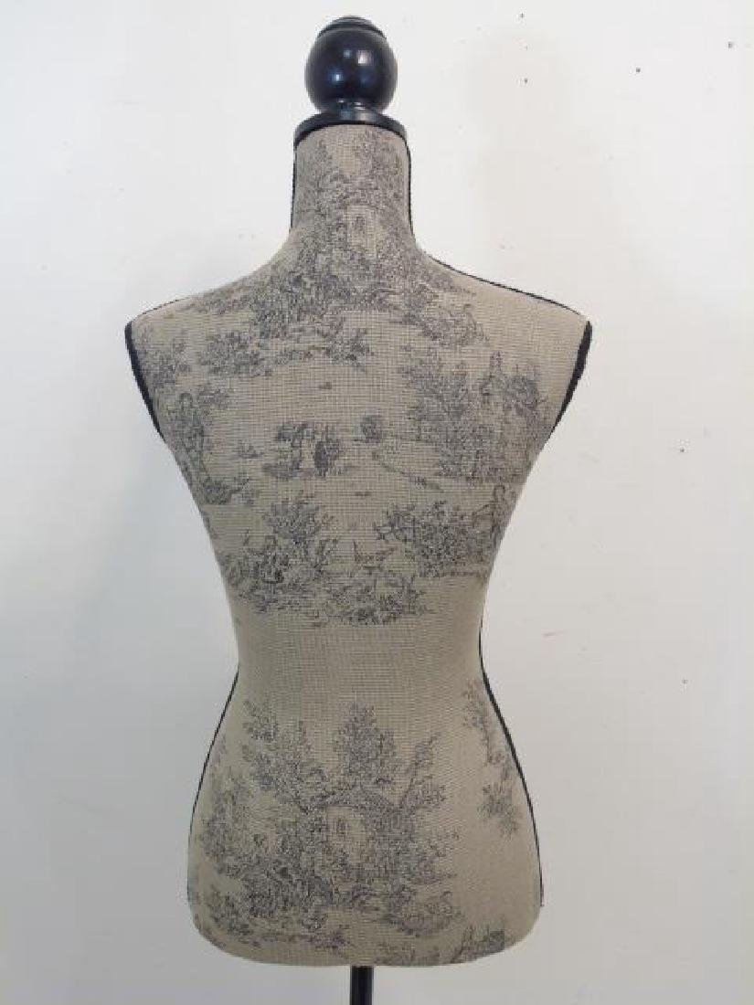 Toile-Fabric Mannequin on a Black Wood Pedestal - 2