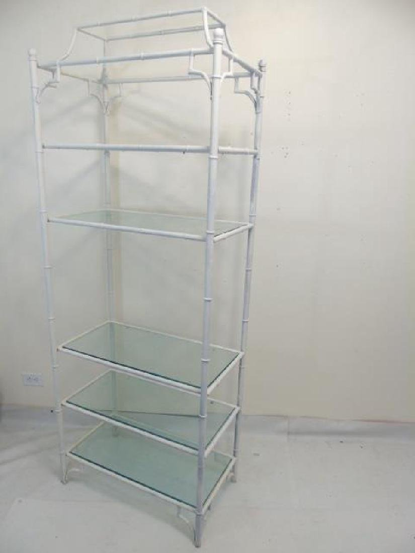 White Bamboo Style Etagere with 5 Glass Shelves