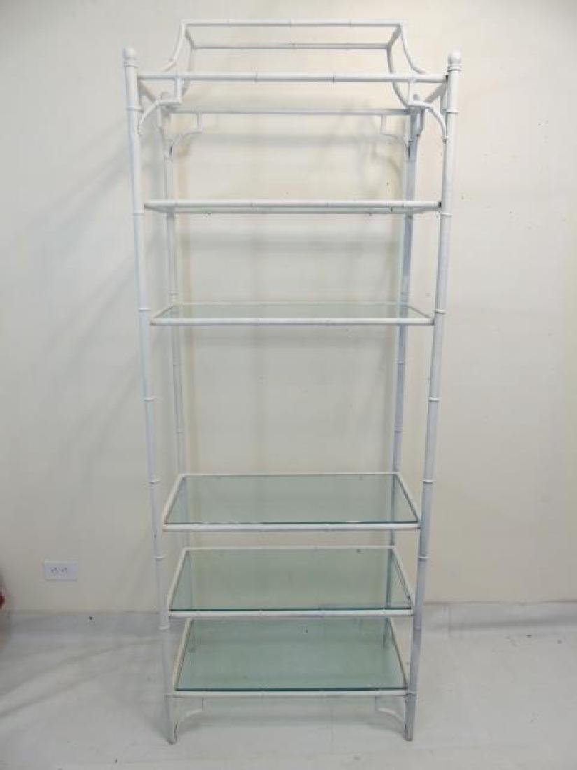 White Bamboo Style Etagere with 5 Glass Shelves - 2