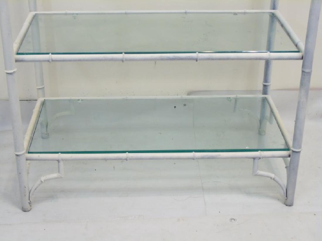 White Bamboo Style Etagere with 5 Glass Shelves - 4