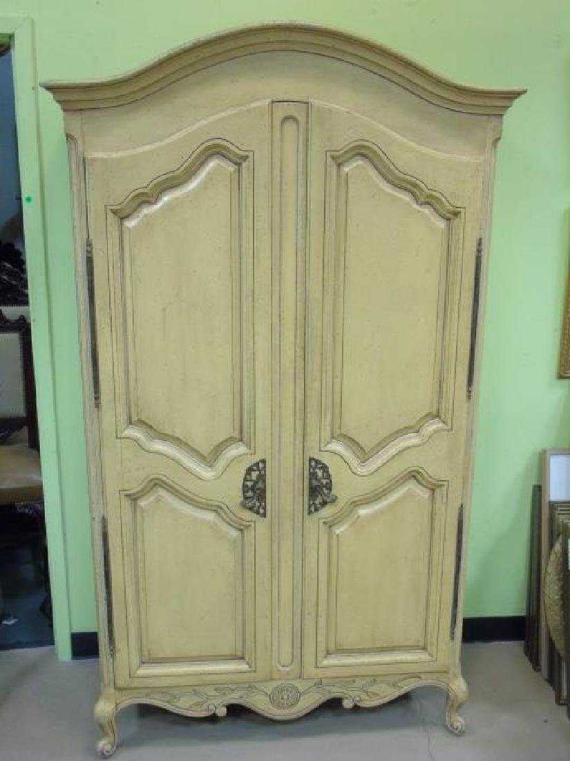 Vintage French Style Yellow Painted Armoire 2 Door