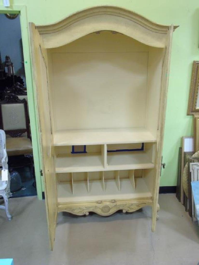 Vintage French Style Yellow Painted Armoire 2 Door - 2