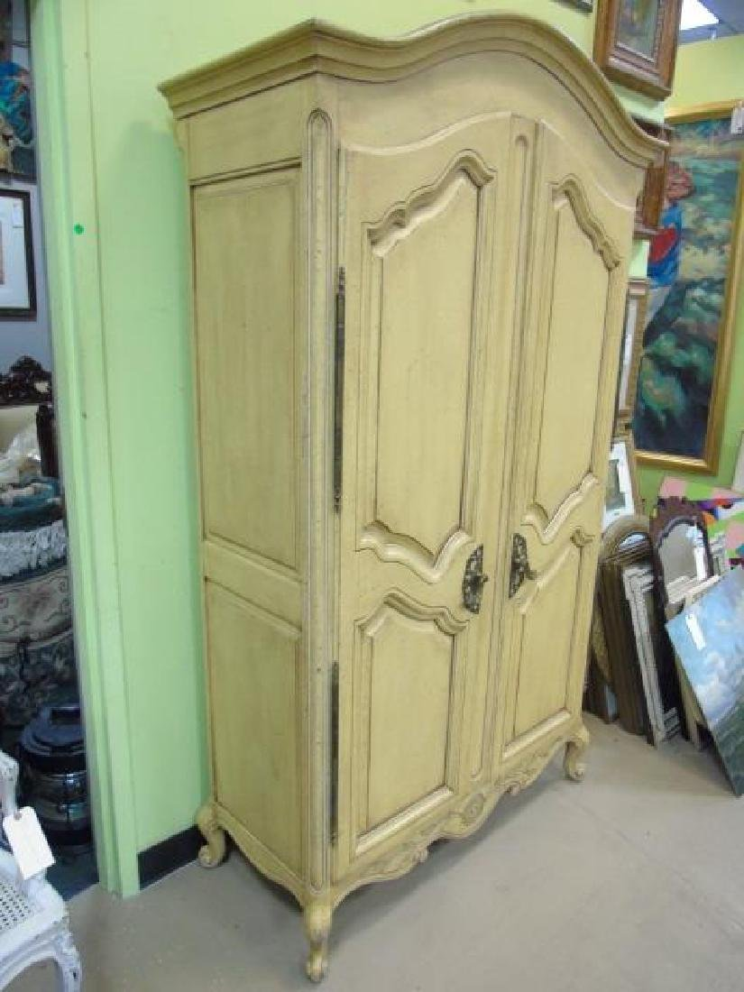 Vintage French Style Yellow Painted Armoire 2 Door - 3