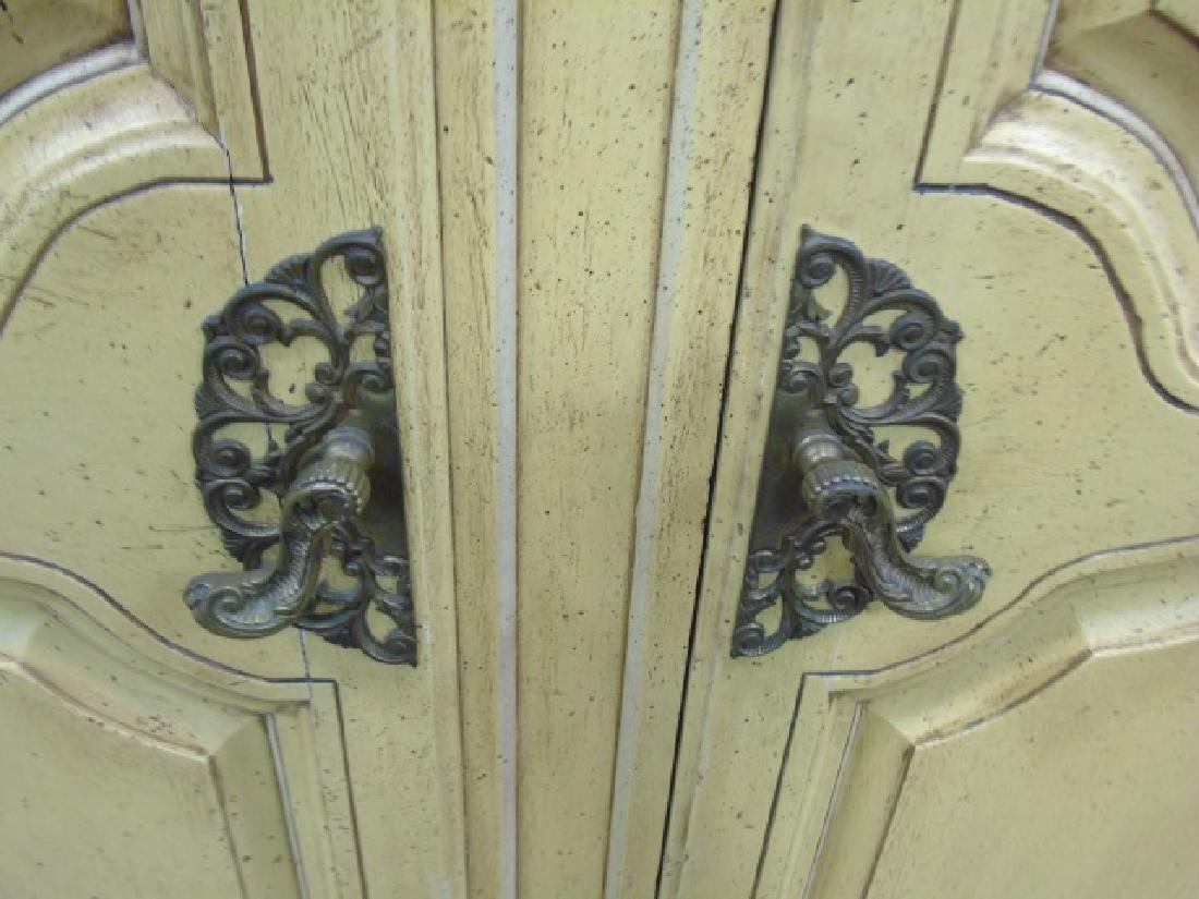 Vintage French Style Yellow Painted Armoire 2 Door - 5