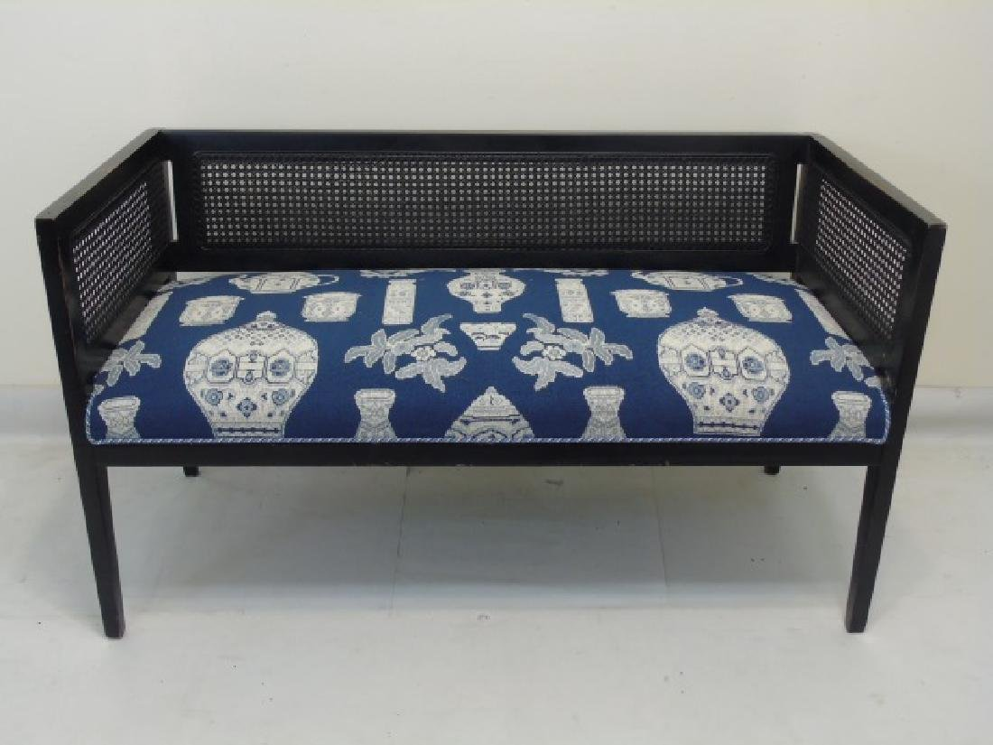 Antique Settee Bench w Blue & White Tapestry Seat
