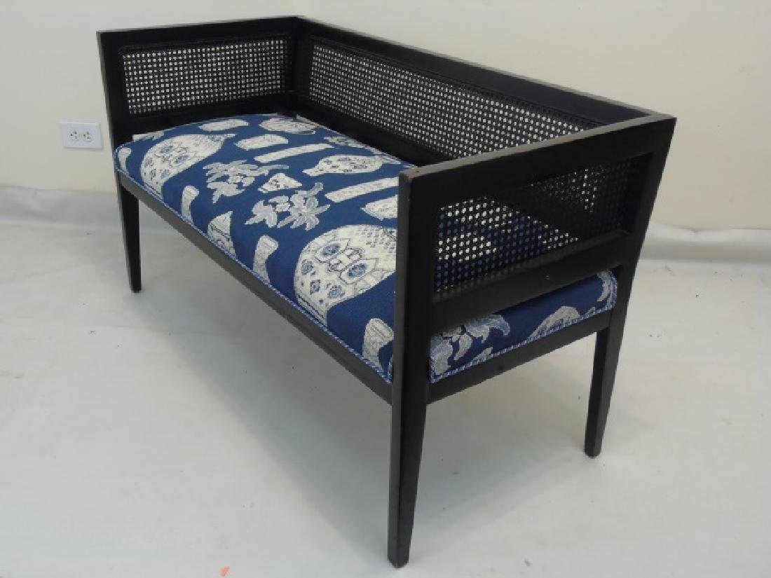 Antique Settee Bench w Blue & White Tapestry Seat - 2