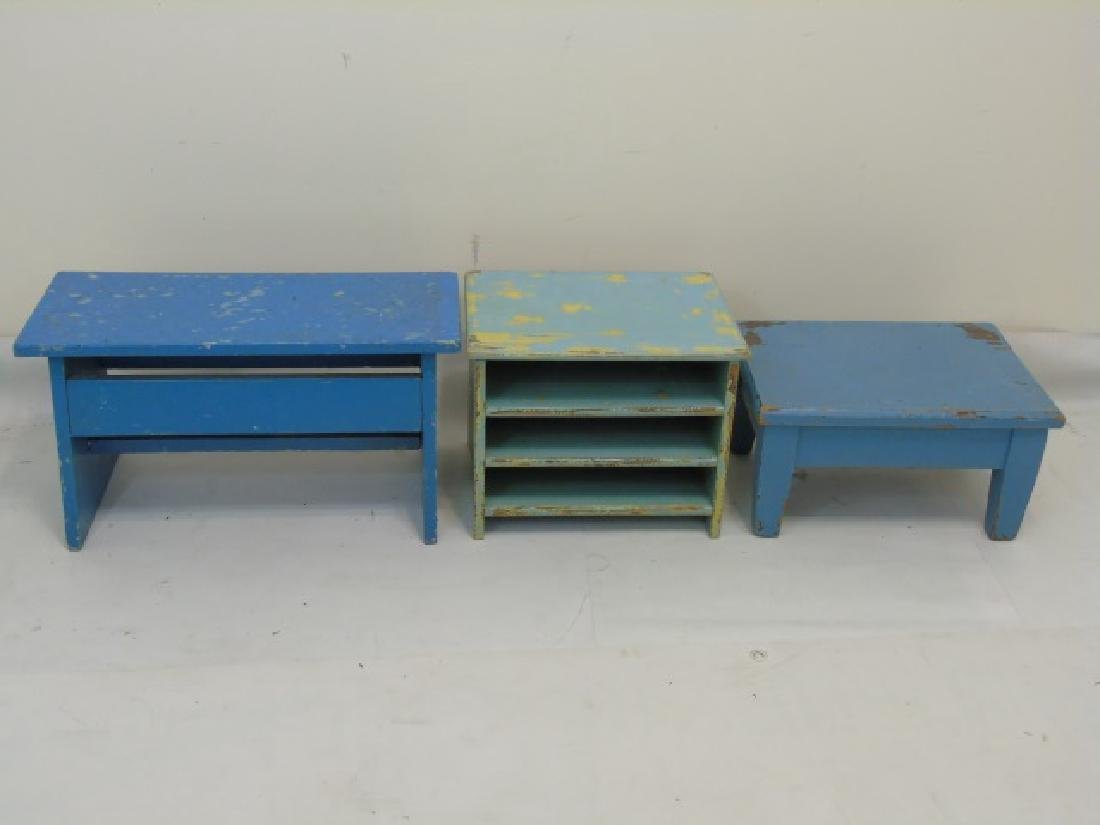 3 Rustic Blue Painted Wood Items Benches & In Box
