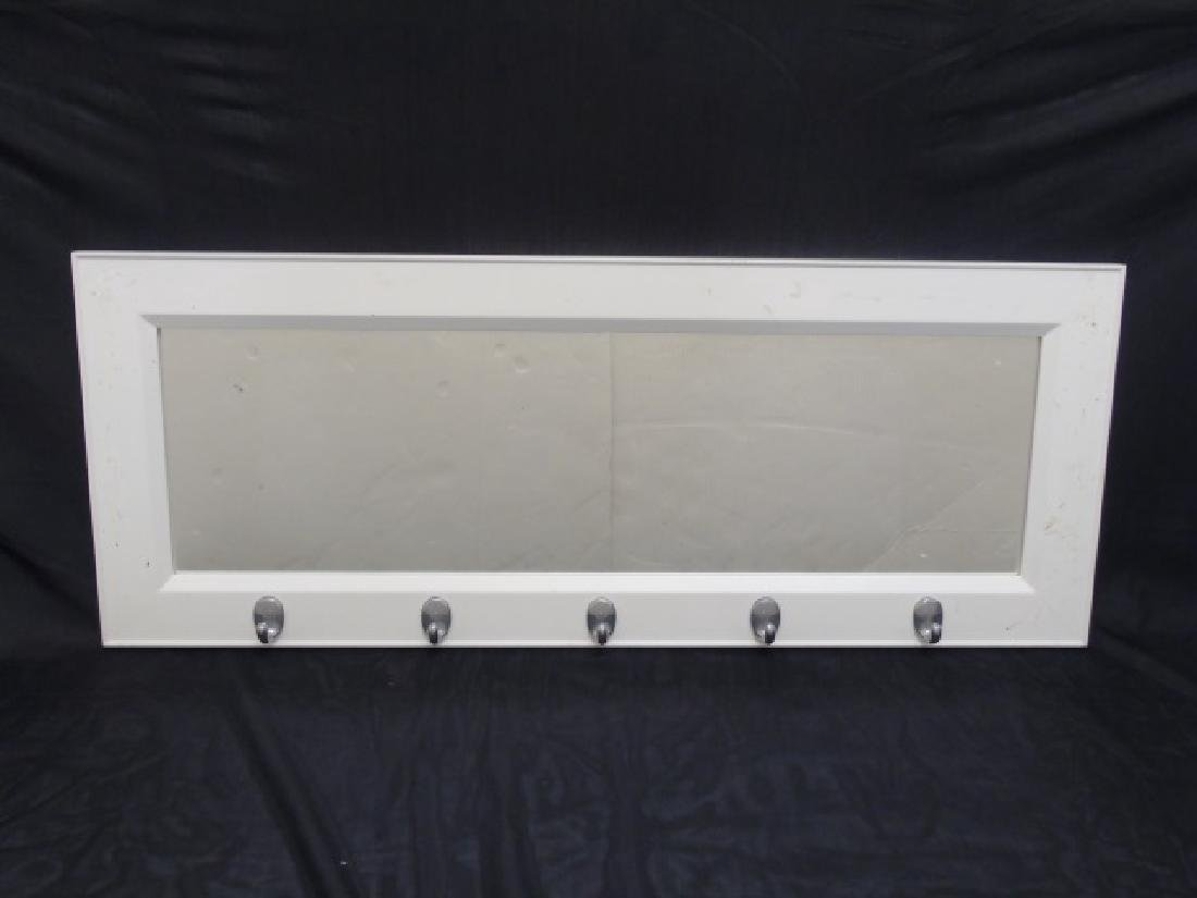 White Wood Framed Mirror with 5 Nickel Hooks