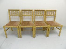 4 Yellow Painted Bamboo Look Side Chairs