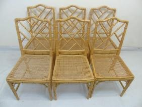 12 Matching Yellow Painted Bamboo Look Side Chairs