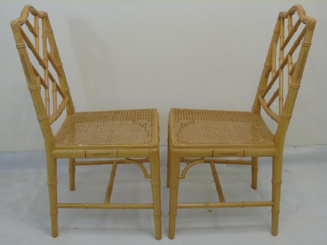 12 Matching Yellow Painted Bamboo Look Side Chairs - 2