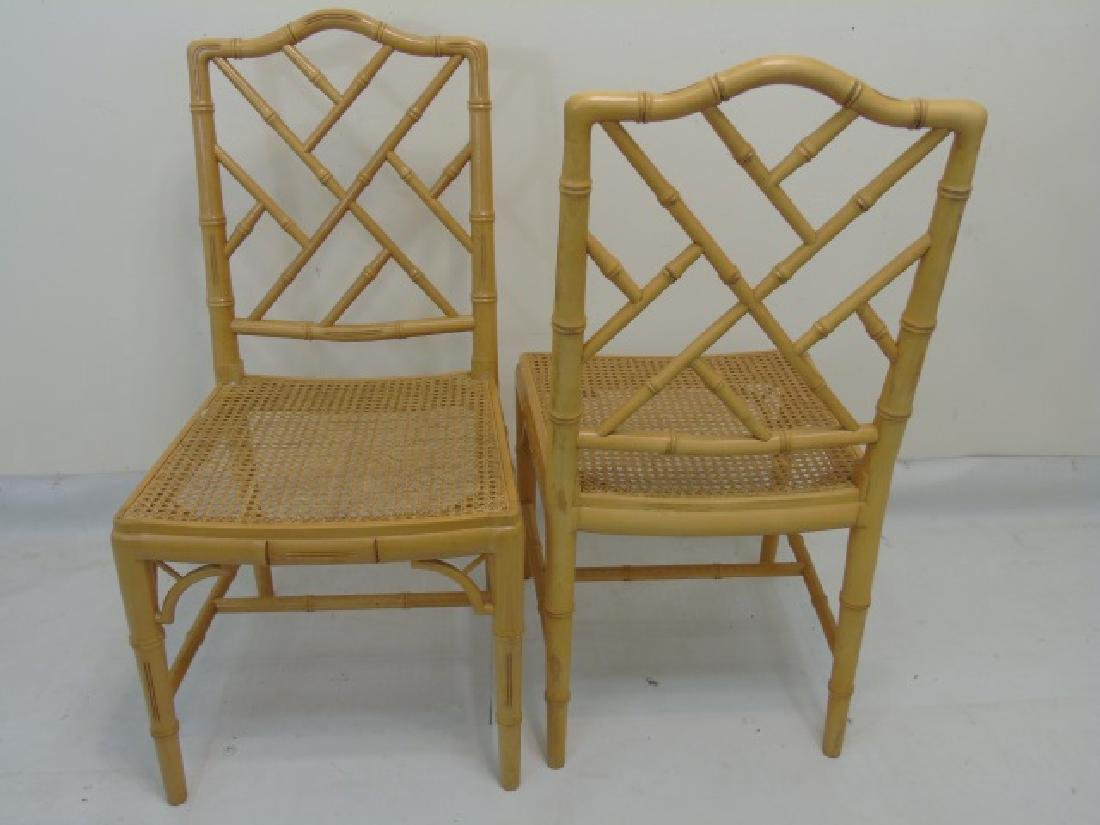 12 Matching Yellow Painted Bamboo Look Side Chairs - 3