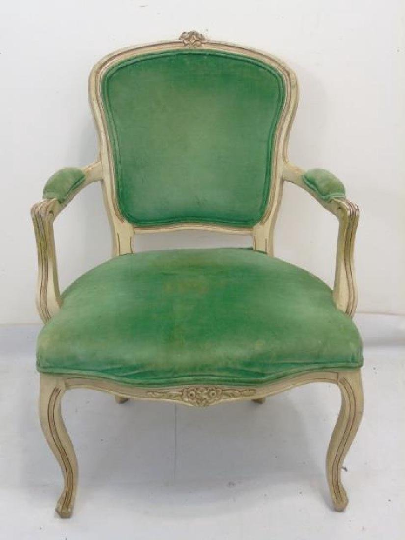 Vintage French Bergere Armchair w Green Velvet