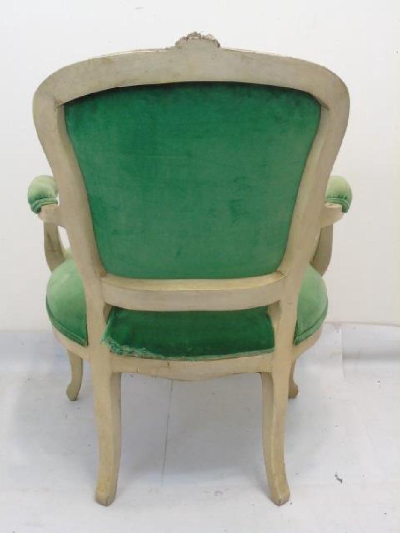 Vintage French Bergere Armchair w Green Velvet - 2
