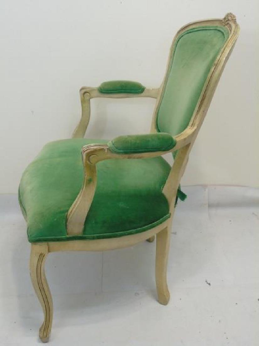 Vintage French Bergere Armchair w Green Velvet - 3